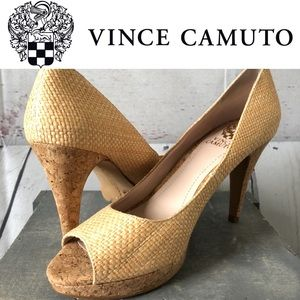 VINCE CAMUTO Ashlynn Natural Raffia Open toe pumps